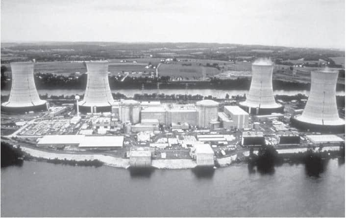 Three Mile Islandi tuumajaam oma kahe reaktori ja nelja jahutustorniga
