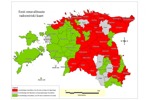 Eesti pinnase radooniriski kaarti täiendati 2020. aasta radooniuuringute andmetega